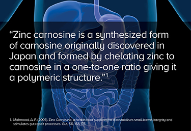 Zinc carnosine is a synthesized form of carnosine.