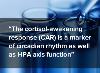The cortisol-awakening response (CAR) is a marker of circadian rhythm as well as HPA axis function.