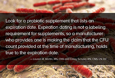 Expiration dating is not a labeling requirement for supplements, so a manufacturer who provides one is making the claim that the CFU count provided at the time of manufacturing, holds true to the expiration date.