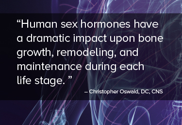 Human sex hormones have a dramatic impact upon bone growth, remodeling, and maintenance during each life stage