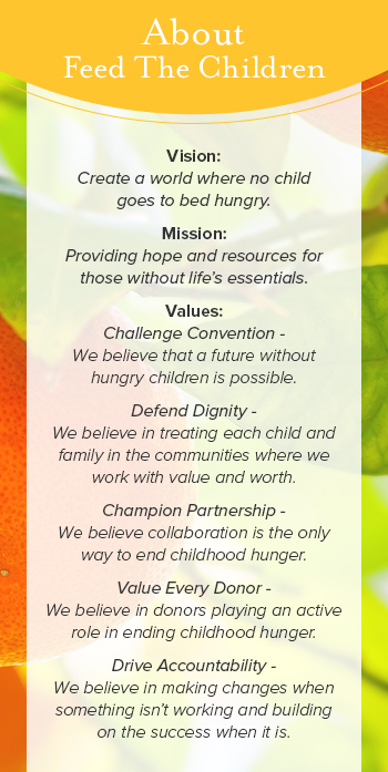 Feed the Children Mission, Vision, Values