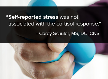 Self-reported stress was not associated with the cortisol response.