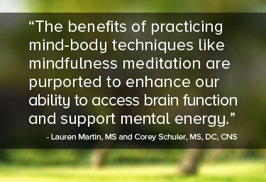The benefits of practicing mind-body techniques like mindfulness meditation are purported to enhance our ability to access brain function and support mental energy.